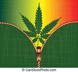 Zipper Cannabis Leaf - A cannabis leaf background with an...