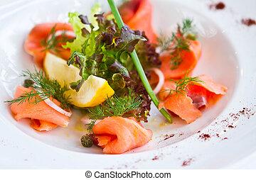 Fresh Salmon on a plate
