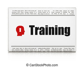 Education concept: newspaper headline Training and Head With Keyhole icon on White background, 3d render