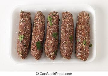 Raw lamb kofta in a tray - Supermarket tray of raw Lebanese...