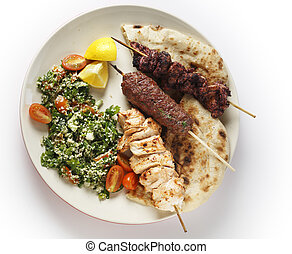 Kebab tabouleh bbq from above - Various barbecued kebabs -...