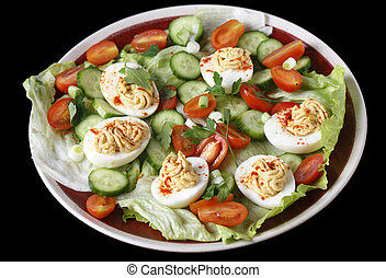 Deviled eggs - Closeup view of a salad of deviled eggs...