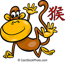monkey chinese zodiac horoscope sign - Cartoon Illustration...