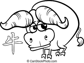 ox chinese zodiac horoscope sign - Black and White Cartoon...