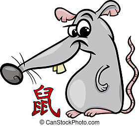 rat chinese zodiac horoscope sign - Cartoon Illustration of...
