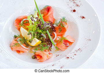 Fresh Salmon on a plate