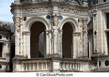 Spiral staircase in the Chambord castle, Loire Valley,...