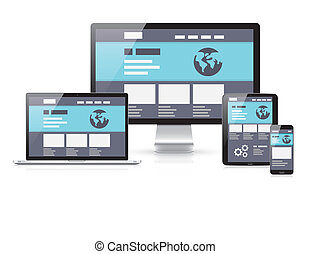 Modern flat & responsive vector illustration of computer...