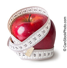 Red aaape with sewing measuring