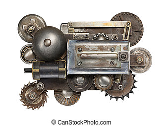 Mechanism - Stylized metal collage of mechanical device