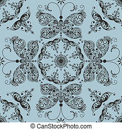 Vector floral seamless spring pattern with butterflies