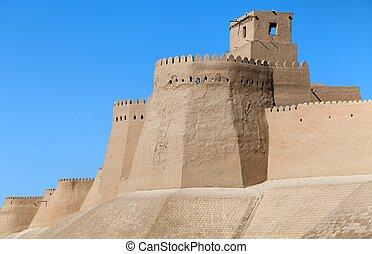 wall of Itchan Kala (Ichon Qala) - Khiva (Chiva, Heva, Xiva,...