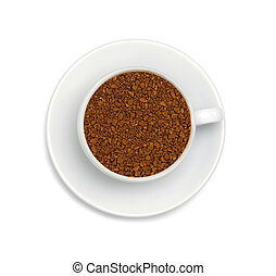 granules of instant coffee in a white cup and saucer isolated on white background