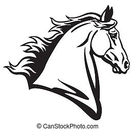 horse head side view, black and white image