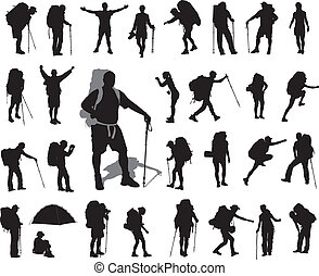 Backpacker set - People with backpack vector silhouettes set...