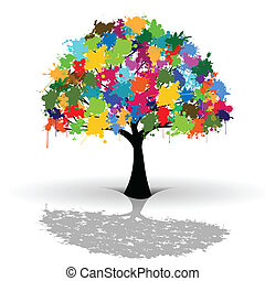 Colorful tree - Illustration of colorful tree as a symbol of...