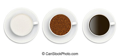granules of instant coffee, sugar and coffee in white cup isolated on white background