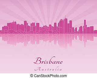 Brisbane skyline in purple radiant orchid in editable vector...