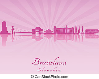 Bratislava skyline in purple radiant orchid in editable...