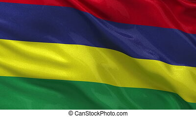 Flag of Mauritius seamless loop - Flag of Mauritius gently...