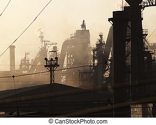 Metallurgical plant - Heavy metallurgical plant in sunset...