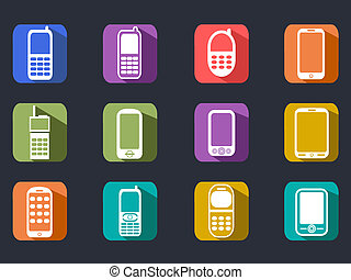 flat cell phone long shadow icons