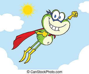 Frog Superhero Flying In The Sky - Frog Superhero Cartoon...