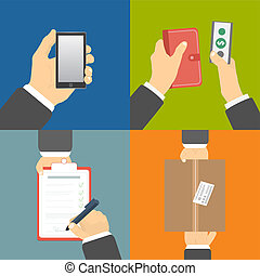 Set of hands clients purchasing - Business concept Set of...