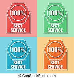 best service 100 percentages, four colors web icons - best...