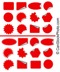 Sticker label set Red sticky isolated on white