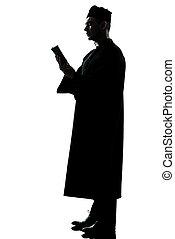hombre, sacerdote, silueta