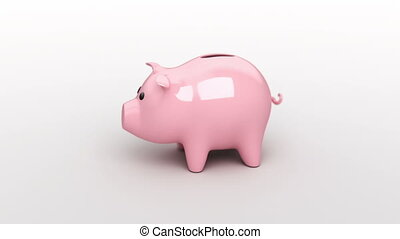 the hammer breaks a piggy bank, 3d animation