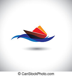 yacht vector icon - colorful cruise on blue ocean waters