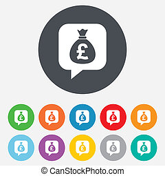 Money bag sign icon Pound GBP currency - Money bag sign icon...