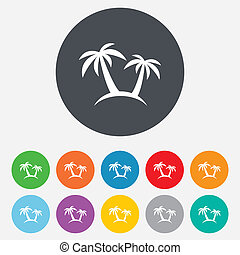 Palm Tree sign icon. Travel trip symbol. Round colourful 11...