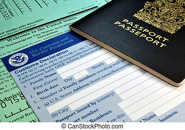 Arriving in the USA: Passport and USA Customs forms -...