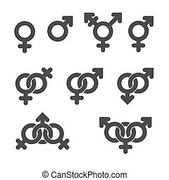 Gender symbol icons Graphic vector elements set
