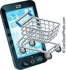 Shopping cart cell phone concept of a mobile phone with a...