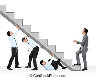 businessman climbing up - business team holding the stairs...