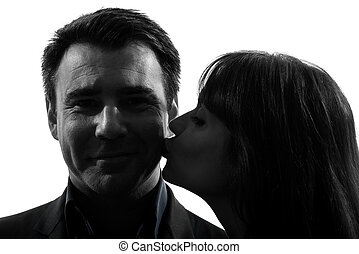 couple woman kissing man silhouette