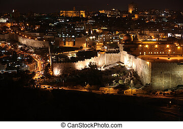Night in Jerusalem old city, Temple Mount with Al-Aqsa...