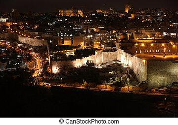 noche, jerusalén, viejo, ciudad, templo, monte,...