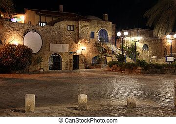 Old street of Jaffa, Tel Aviv in the night, Israel