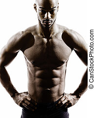 young african muscular build man topless silhouette - one...