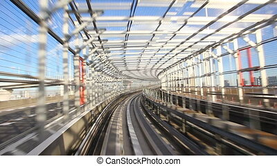 Train passing through RainbowBridge - Train passing through...