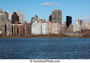 Manhattan, view from Long Island, USA