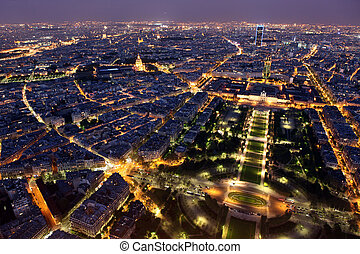 Famous and Beautiful night view to Paris from the Eiffel...