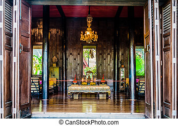 buddha altar Jim Thompson House museum bangkok thailand -...
