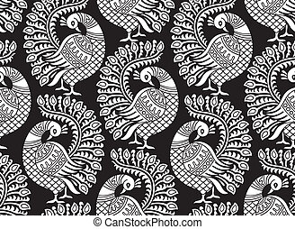 Seamless vector peacock design