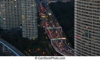 Busy highway in Tokyo, Japan - Busy highway view